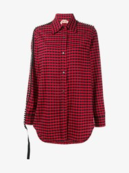 N 21 Diamante Embellished Check Cotton Shirt Black Red