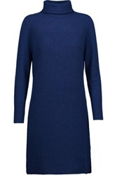 Magaschoni Ribbed Cashmere Turtleneck Sweater Dress Storm Blue