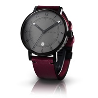 Bravur Watches Black Case And Grey Face And Burgundy Strap Black Grey Pink