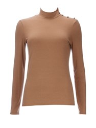 Wallis Camel Jersey Layering Polo Top