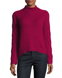Cynthia Steffe Cable Knit Turtleneck Sweater Dark Pink