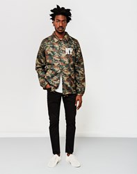 Schott Nyc Zippered Logo Coach Jacket Camo Green