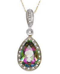 Macy's Mystic Topaz 3 1 3 Ct. T.W. And Diamond Accent Pendant Necklace In 14K Gold And 14K White Gold Purple