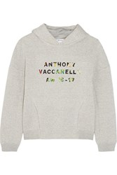Anthony Vaccarello Appliqued Cotton Blend Jersey Hooded Top Gray