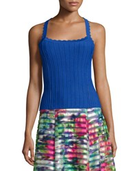 Nanette Lepore Sleeveless Ribbed Top With Scalloped Straps Sapphire