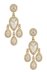 Nadri Cz Pave Framed Chandelier Earrings Metallic