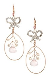 Betsey Johnson Pink Bow Orbital Earrings