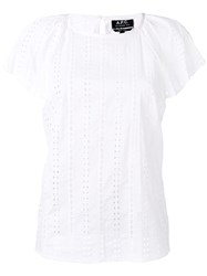 A.P.C. Cap Sleeve Eyelet Blouse Women Cotton 36 White