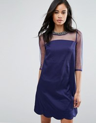 Little Mistress Shift Dress With Mesh Sleeves And Embellished Neckline Navy Blue