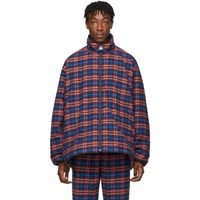 Balenciaga Blue And Red Check Flannel Quilted Zip Up Jacket