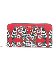 Furla Floral Zip Purse Women Leather One Size Red