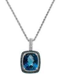 Macy's 14K White Gold London Blue Topaz 13 1 2 Ct. T.W. And Blue And White Diamond 1 2 Ct. T.W. Necklace