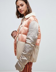 Maison Scotch Satin And Canvas Quilted Bomber Jacket Combo A Multi