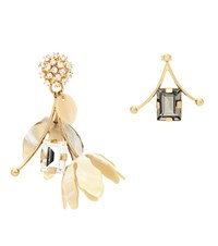 Marni Crystal Embellished Horn Earrings Multicoloured