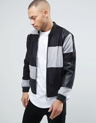 Religion Faux Suede And Leather Patchwork Bomber Grey