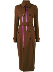 Givenchy Zip Panel Trench Coat Women Silk Polyamide Polyester Viscose 40 Brown