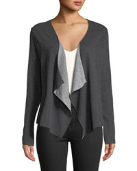 Majestic Draped Cotton Cashmere Open Front Cardigan Anthra Grischin