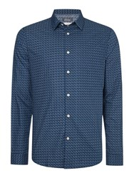 Linea Geo Print Long Sleeve Shirt Petrol