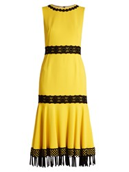 Dolce And Gabbana Crochet Trimmed Stretch Cady Dress Yellow