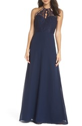Hayley Paige Occasions Lace And Chiffon Halter Gown Navy