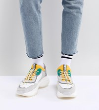 Bronx Yellow And Green Suede Chunky Trainers White Yellow