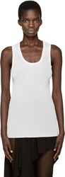Anthony Vaccarello Cream Ribbed Tank Top