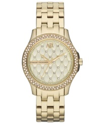 Ax Armani Exchange Watch Women's Gold Ion Plated Stainless Steel Bracelet 36Mm Ax5216