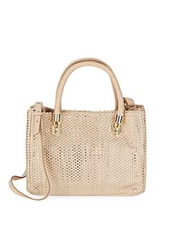 Cole Haan Benson Woven Leather Mini Tote Soft Gold