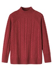Toast Lambswool Cable Knit Jumper Berry
