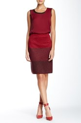 Anne Klein Colorblock Knit Wool Blend Skirt Red