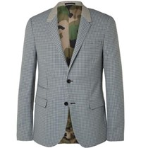 Valentino Slim Fit Checked Virgin Wool Suit Jacket Gray