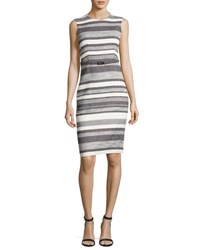Max Mara Striped Cotton Tweed Sheath Dress White