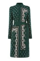 Warehouse Bandana Print Shirt Dress Dark Green