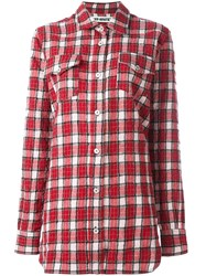 Off White Checked Flannel Shirt Red