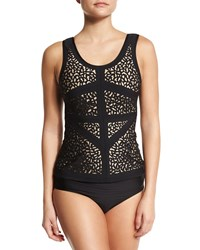 Luxe By Lisa Vogel A Cut Above Tankini Swim Top Onyx