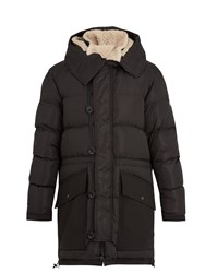 Moncler Loic Shearling Collar Quilted Down Parka Black