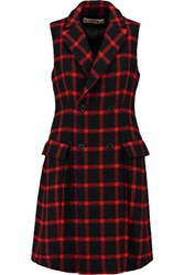 Marni Double Breasted Checked Wool Vest Red