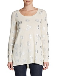 Cashmere Saks Fifth Avenue Cashmere Foil Printed Skull Sweater Eclair