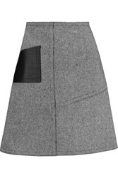 Sandro Janelle Leather Paneled Tweed Mini Skirt Gray