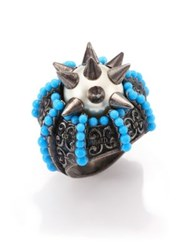 Gucci Spiked Faux Pearl Ring Blue