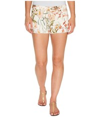 7 For All Mankind Cut Off Shorts W Side Splits Light Destroy In Tropical Print 2 Tropical Print 2 Women's Shorts White