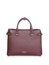 Burberry Banner Leather Satchel Mahogany Red
