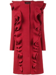 Giambattista Valli Single Breasted Double Frill Coat Polyester Virgin Wool Red