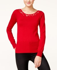 Xoxo Juniors' Grommet Trim Sweater Red