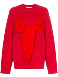 Christopher Kane Tie Front Jumper Red