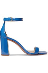 Tory Burch Cecile Glossed Leather Sandals Cobalt Blue