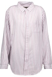 Current Elliott The Simple Prep School Striped Cotton Shirt White
