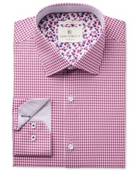 Construct Con. Struct Men's Slim Fit Stretch Magenta Preppy Twill Check Dress Shirt