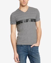 Kenneth Cole Reaction Men's Faux Leather Stripe V Neck T Shirt Flannel Heather