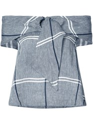 Suno Checked Top Women Cotton Linen Flax 0 Grey